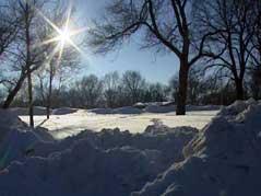 sunshine sun melt snow ice january piles