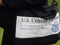 census worker door-to-door survey identification
