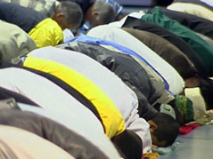 islam muslims praying end of ramadan holiday