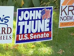political signs election campaign 2010 yard dennis daugaard john thune kristi noem