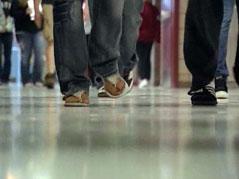 hallway students school district budget cuts education