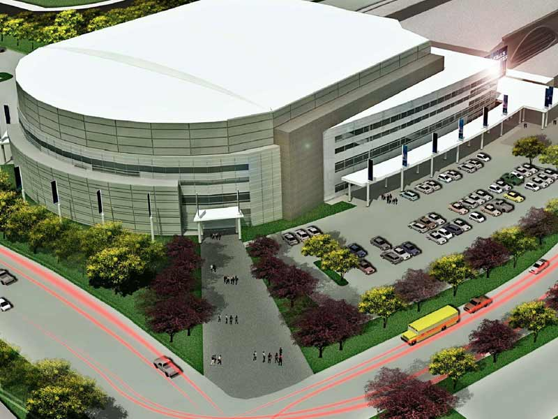 proposed events center design outside of building
