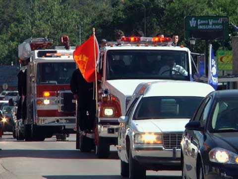 Trampus Haskvitz funeral firefighter killed in Coal Canyon fire from Hot Springs area