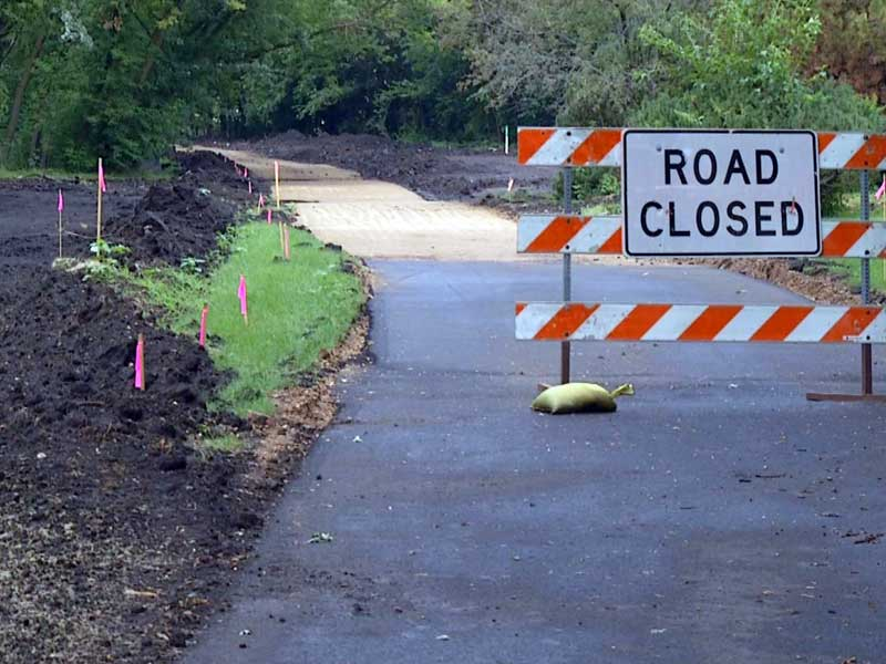 sewer project closed bike trail road closed construction