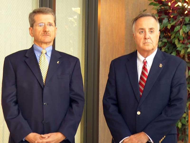 SDSU President David Chicoine and USD President Jim Abbott
