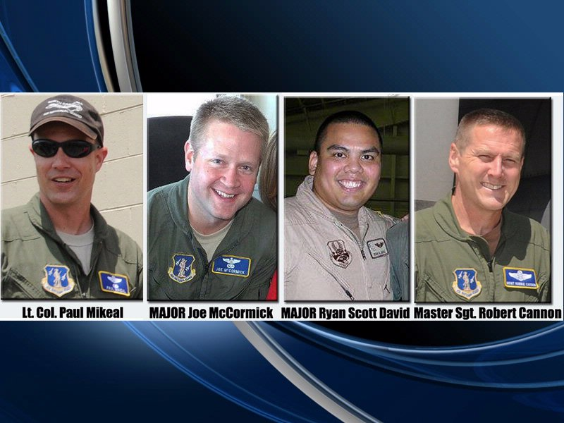 C-130 crew crashed in black hills from North Carolina Air National Guard Lt. Col Paul Mikeal, Major Joe McCormick, Major Ryan Scott David, and Master Sgt. Robert Cannon