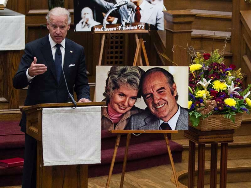 vice president joe biden speaking at George McGovern prayer service ASSOCIATED PRESS