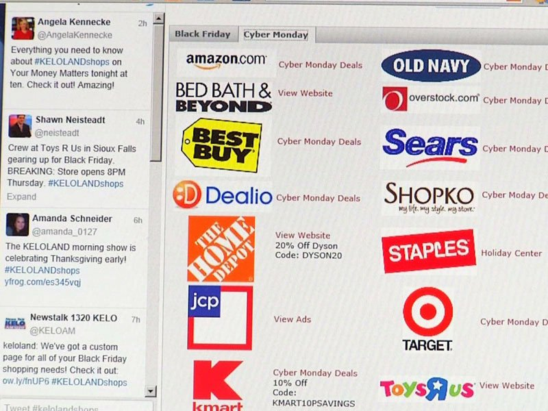 KELOLAND shops website page Black Friday Cyber Monday deals