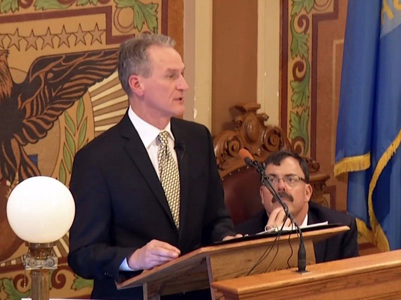 Governor Dennis Daugaard giving his annual budget address at the state capitol in pierre