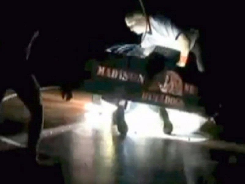spotlight falls during wrestling match in madison lands on wrestler Michael McComish video courtesy: YouTube.com