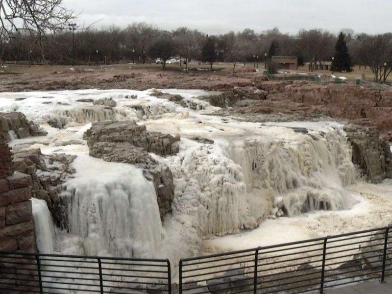 falls park in the winter, frozen falls