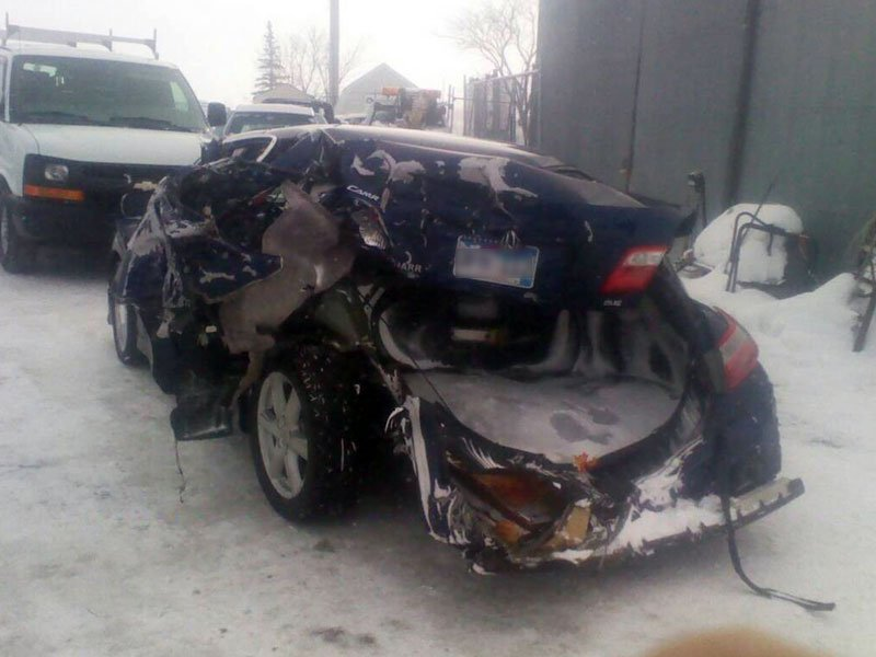 Courtesy: Joselyn Underberg car hit by semi in blizzard