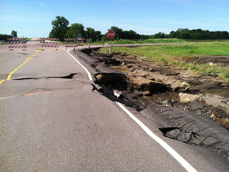 Highway 19a at Hwy 46 near centerville June 25, 2014 flood damage