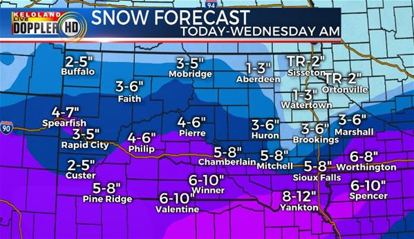 TUESDAY snowfall forecast South Dakota weather