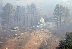 The crash site has been inaccessible due to fires