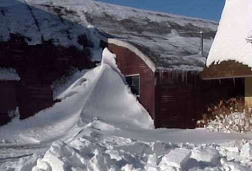 Large drift nearly covers a window