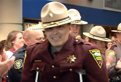Trooper Steen walks out of hospital