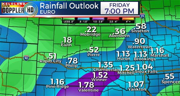 Rainfall forecast South Dakota