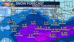 TUESDAY snowfall forecast South Dakota weather